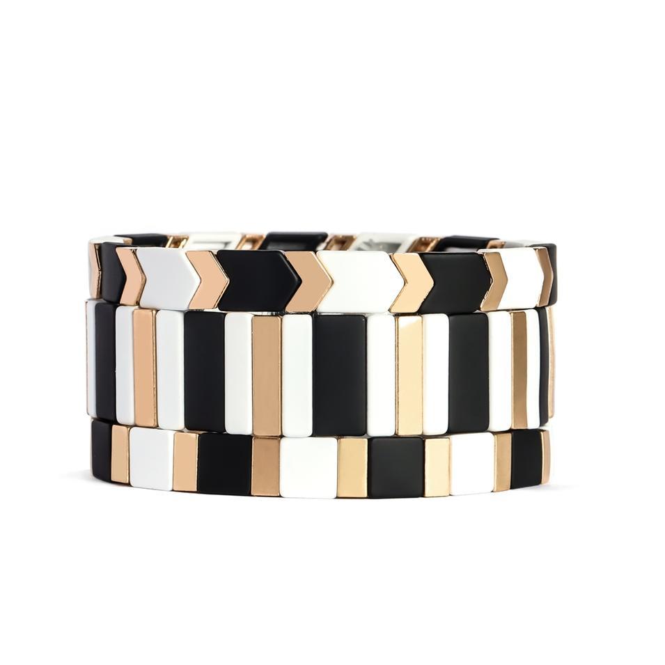2019 New Design Handmade Enamel Rainbow Tile Beads Colorful Enamel Cuff Stretch Bracelets
