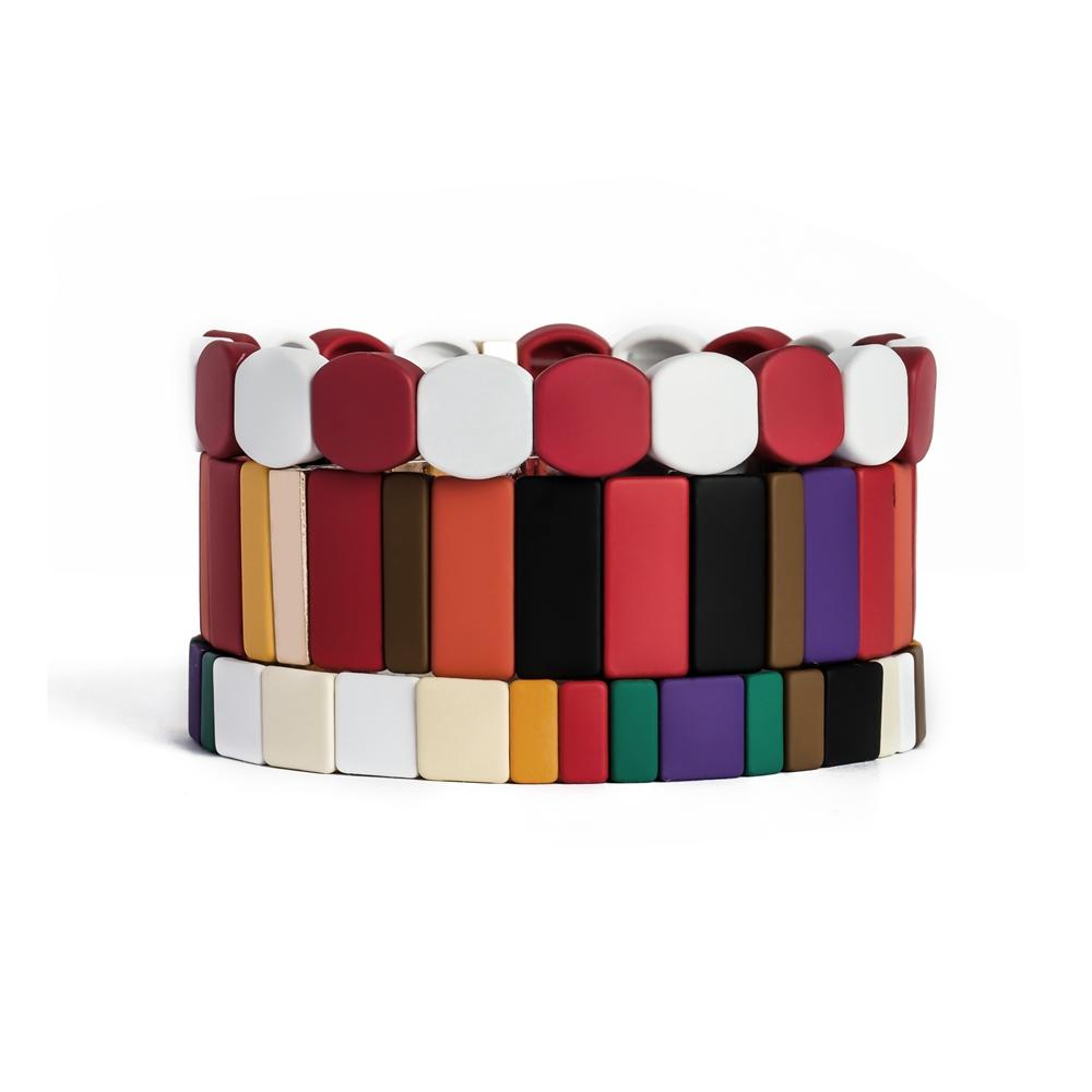 Hot Sale Glod Plated And Painted Stretch Fruit Stripe Enamel Jewelry Fashion Rainbow Bracelet Set