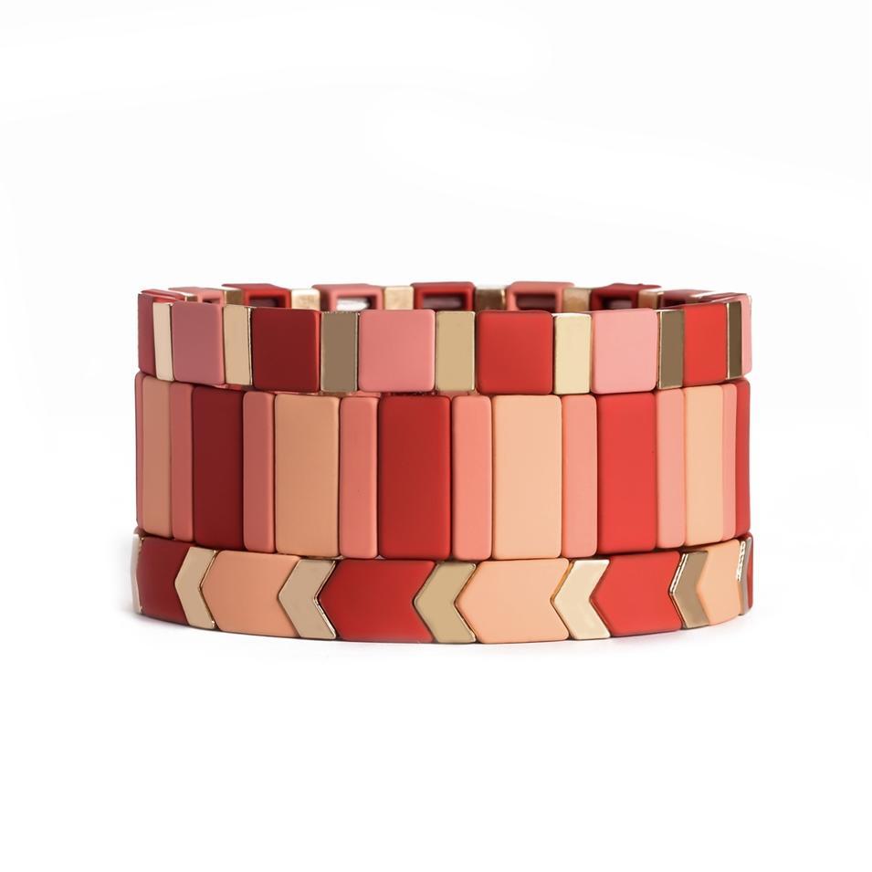 Handmade Jewelry Women Pink Bright Metal Alloy Panted Tile Bead Stretch Enamel Bracelet