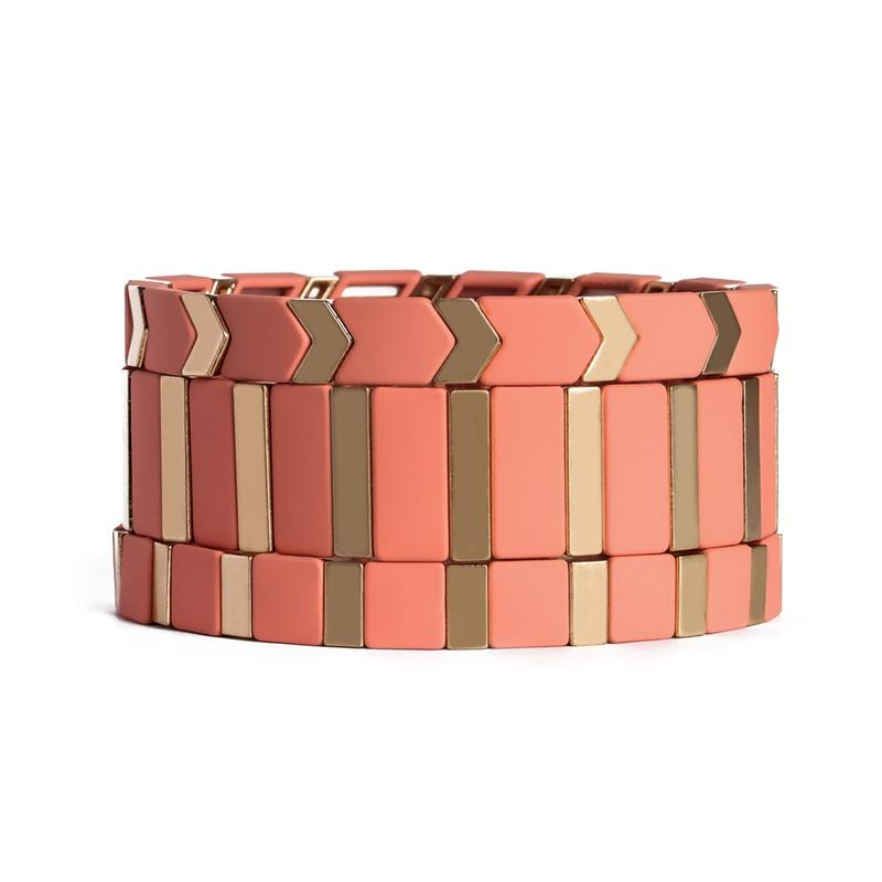 Women Pink Bright Arrow Square Shape Metal Alloy Panted Tile Bead Stretch Enamel Bracelet