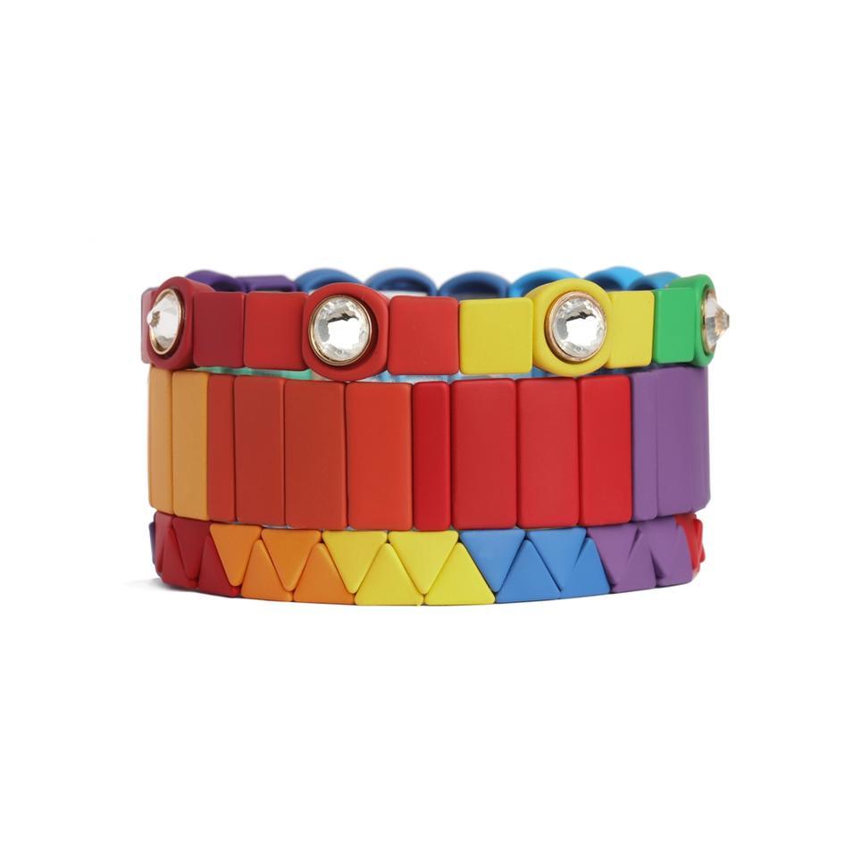 Hot Sale Glod Plated And Painted Stretch Fruit Stripe Enamel Jewelry Fashion Rainbow Bracelet Set