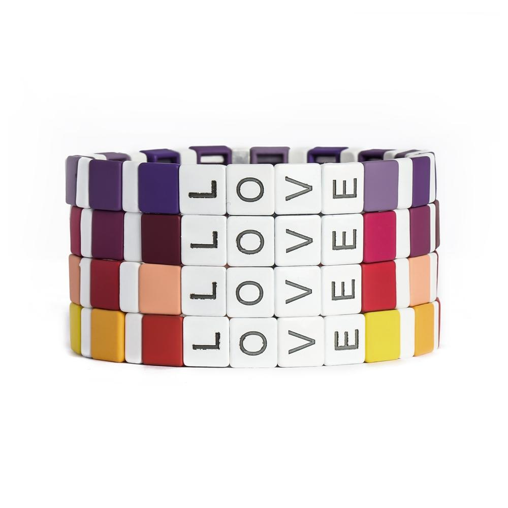 4 pcs Stack Rainbow Colorful Enamel Tile Bead Stretchy Love Alphabet Letter Bracelet