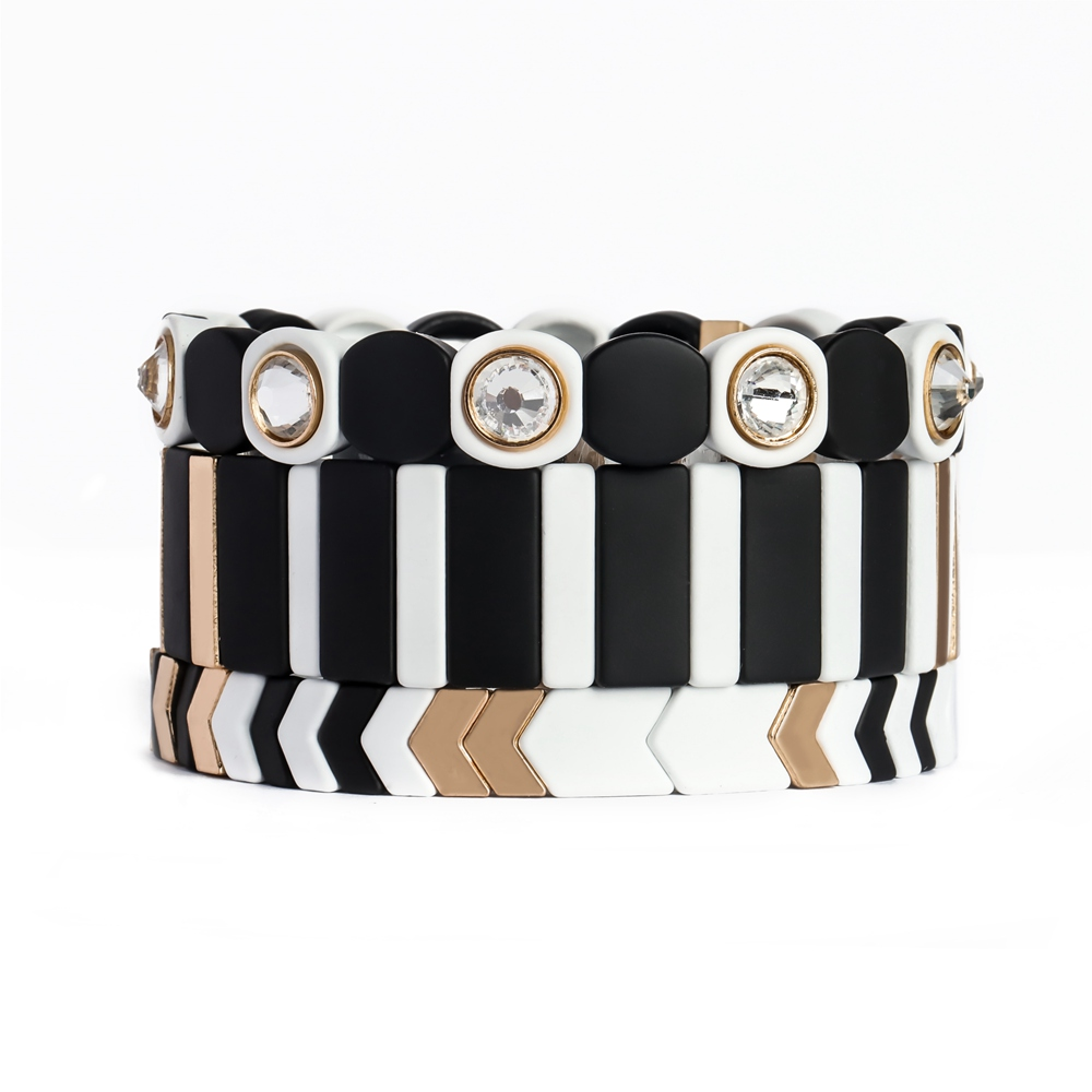 Fashion Blcak white and Gold color Boho-chic curff tile enamel bracelet women jewelry