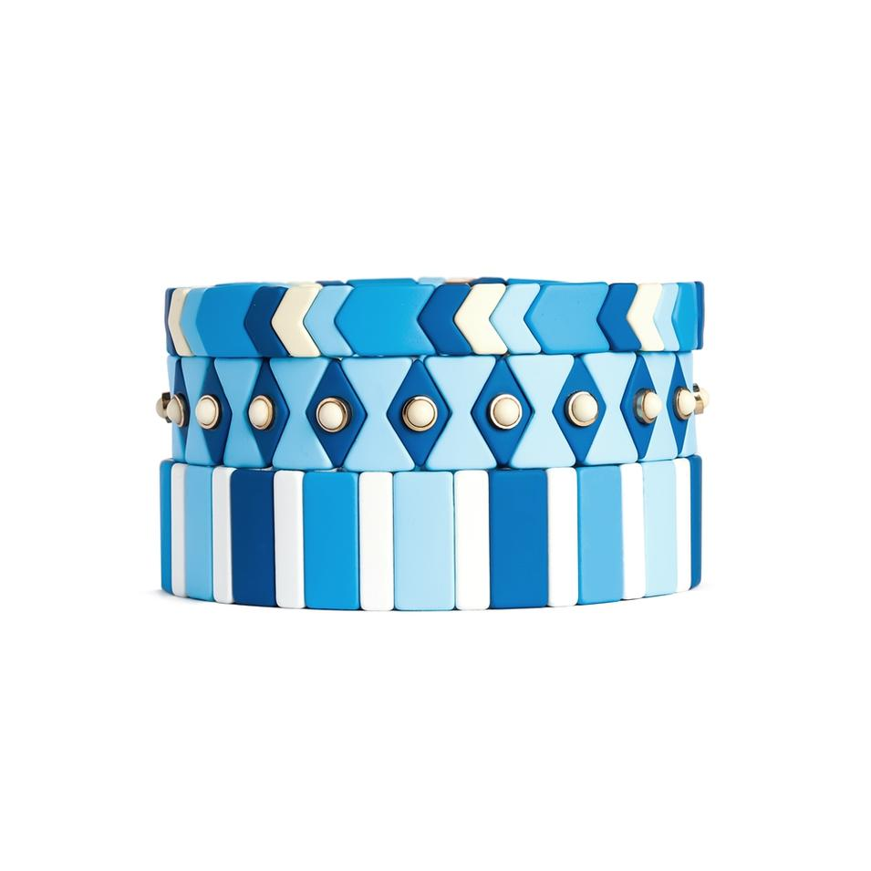 Hot Selling Design Jewelry Gold Plated Colorful Enamel Argyle Stretch Bracelet For Women