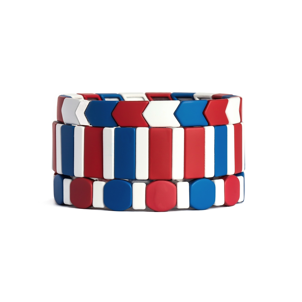 Blue red and white color round triangle Handmade Tile enamel bracelet