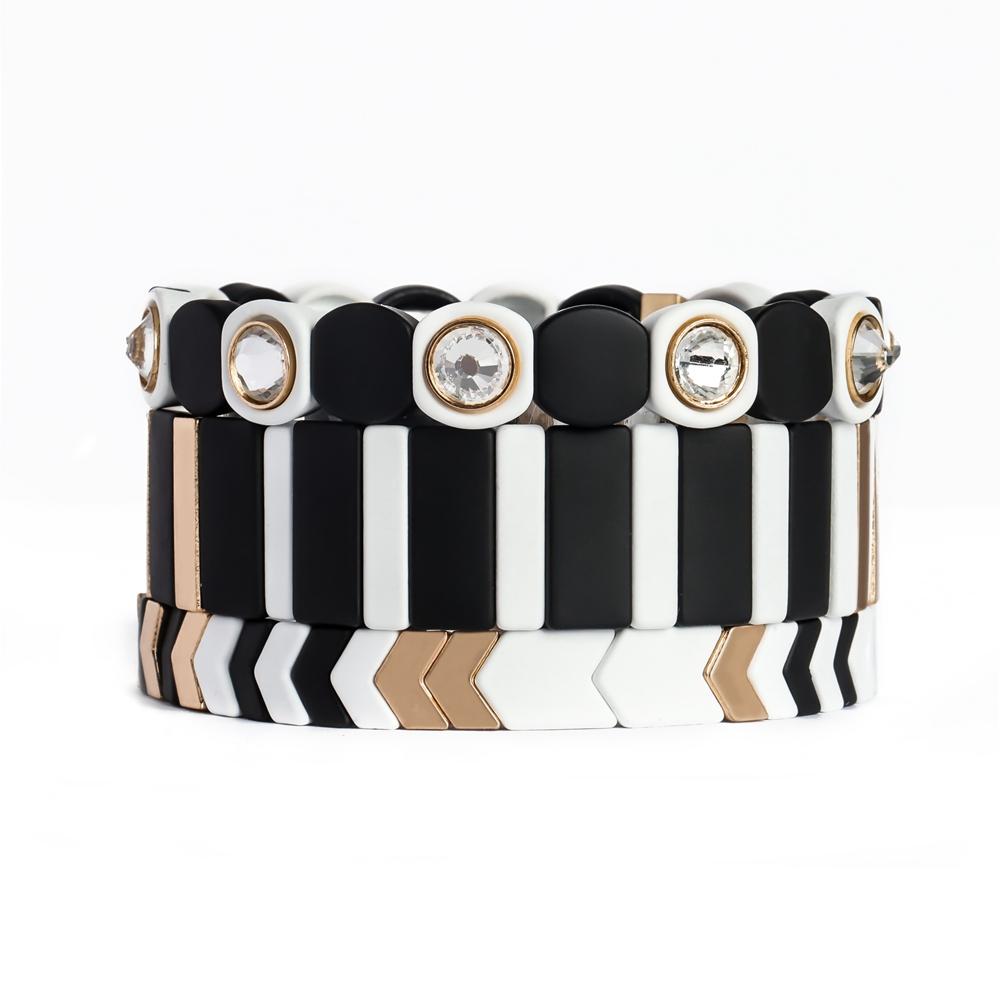 Fashion Blcak white and Gold color Boho-chic curff tile enamel bracelet women jewelry