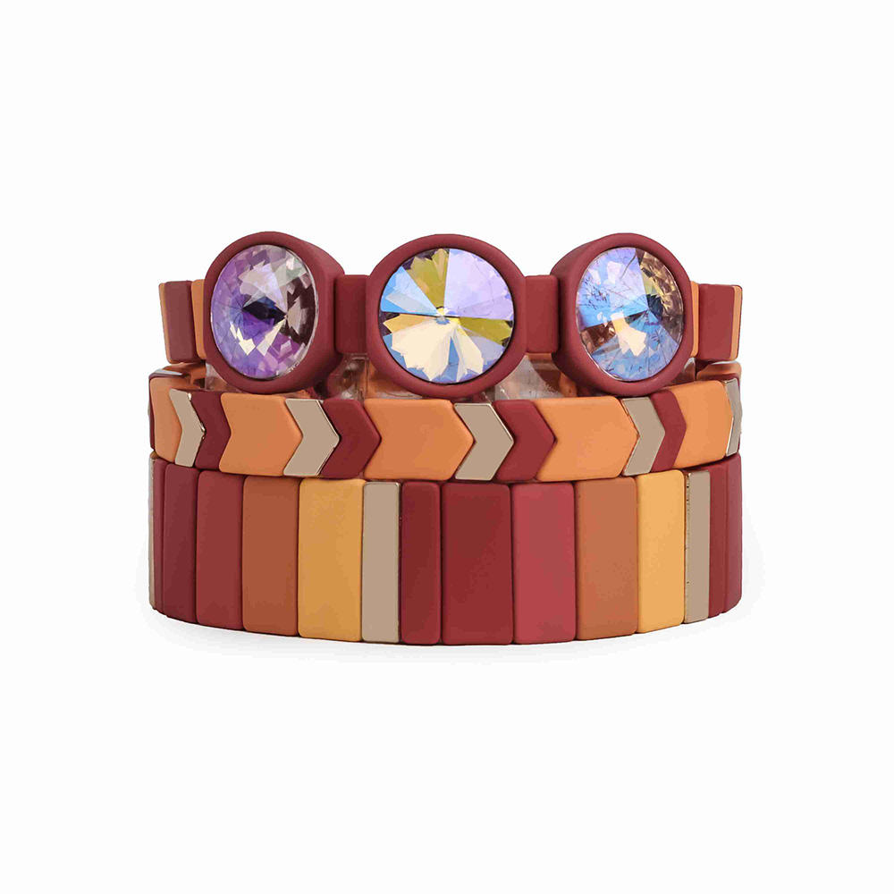 Boho Enamel Tile Bead Bracelet Gold Plated Glass Crystal Rhinestone Rainbow Tile Bracelet