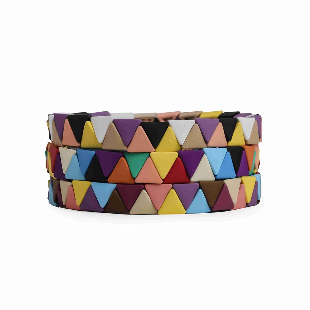 Picnic Blanket Rainbow Blocks Tubes Enamel Bead Stackable Bracelet