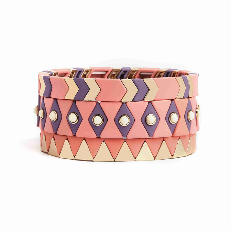 Bohemian Handmade Elastic Stretch Stack Bangle Cuff Gold Pink Square Arrow Tile Metal Alloy Bead Enamel Painted Bracelet
