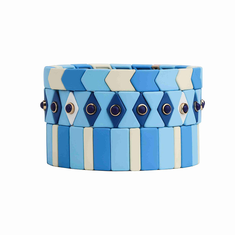 ODM OEM Supplier Handmade Custom Cuff Bangle Elastic Stretch Stack Men Women Tile Bead Enamel Metal Bracelet