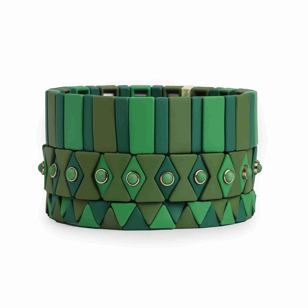 Green fresh friendship 3Pcs Tile hematite enamel bracelet