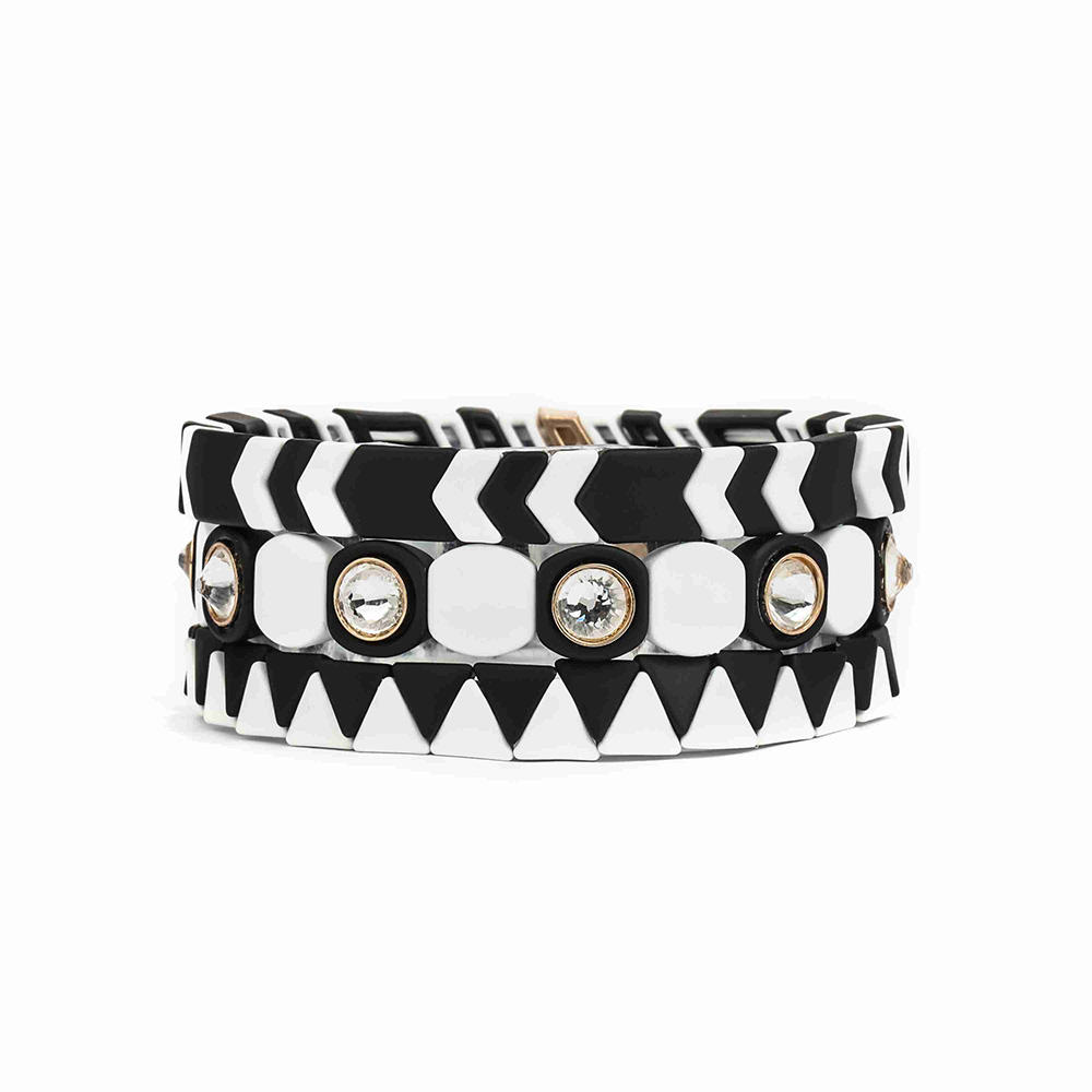Bling Rhinestone Classic Black White Mixed Color Painted Metal Alloy Bead Stretch Tile Enamel Cuff Bracelet