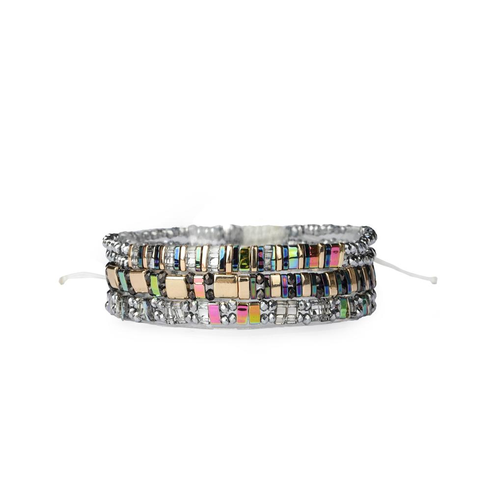 2019 3 and 4 PCS New Handmade High Grade Stackable TILA Bead Multi Color Elastic Beach Bracelet