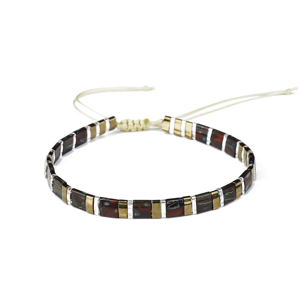 Friendship Jewelry Adjustable Thread Woven Knot Silver Color Miyuki Tila Seed Beaded Bracelet Handmade