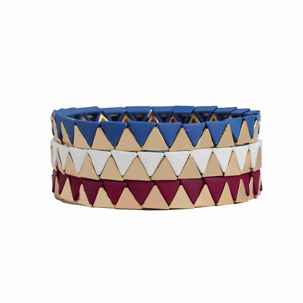 China Supplier Blue White Rose Red Color Painted Arabic Islamic Style Triangle Tile Bead Stretch Enamel Bracelet Guangzhou