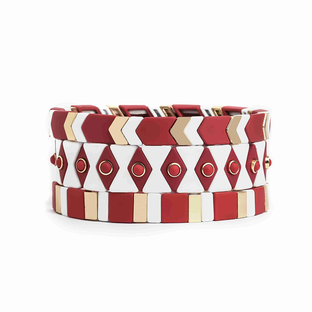Hot selling Hematite bead red and gold color 3 pcs handmade tile enamel bracelet wholsale women jewelry