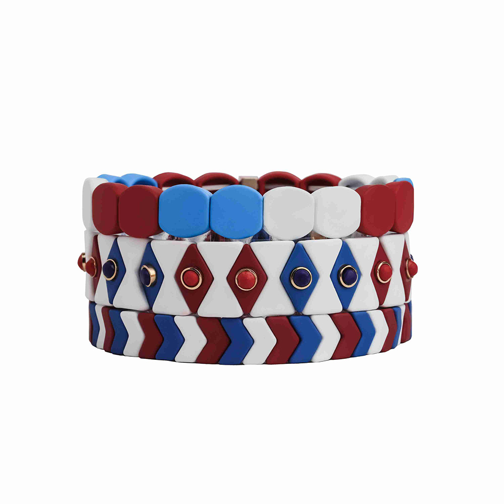Friendship design 3-shape mixed blue white and red color enamel hematite tile bracelet