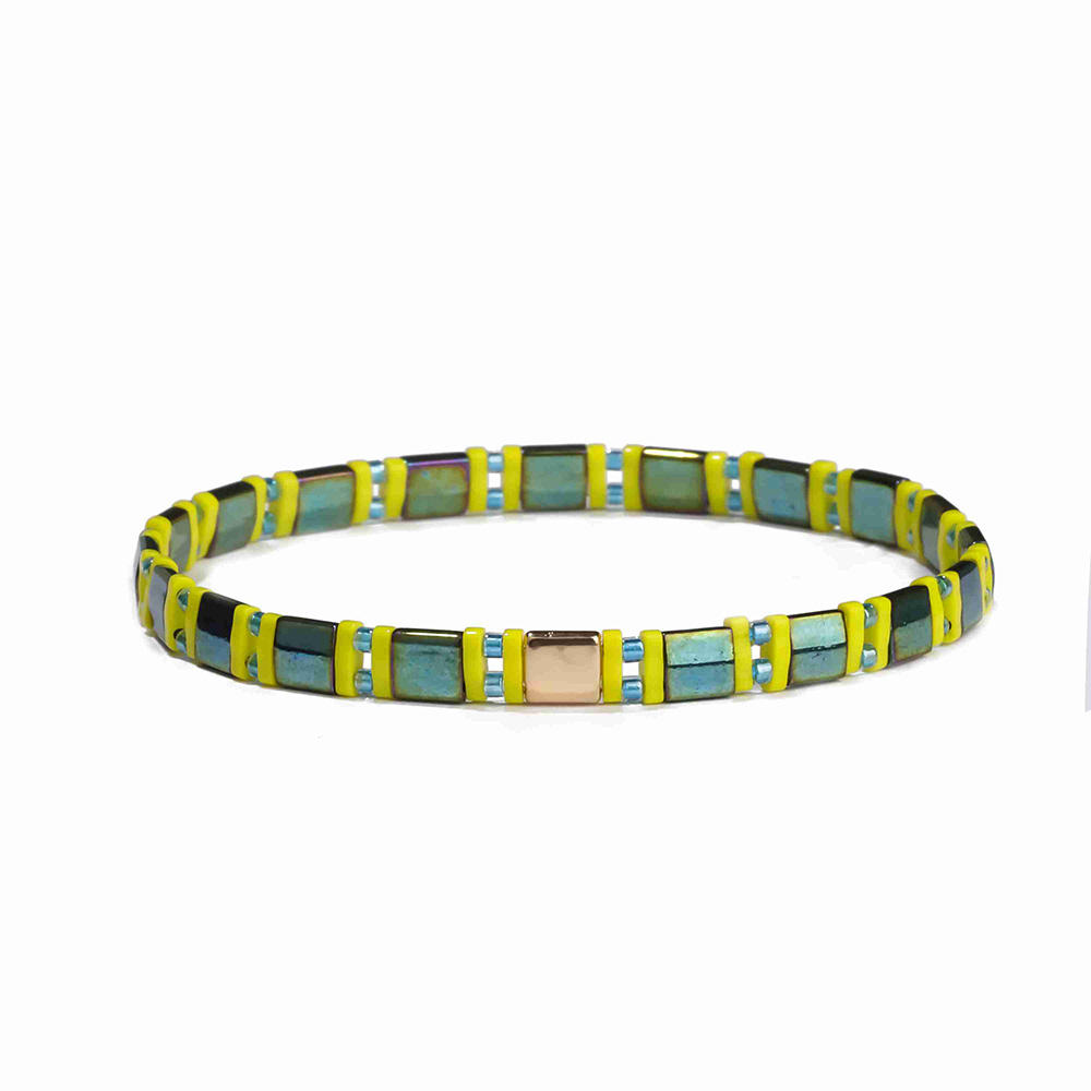 Popular Fashion Trendy Light Color Tila Bead Bracelet Women Jewelry
