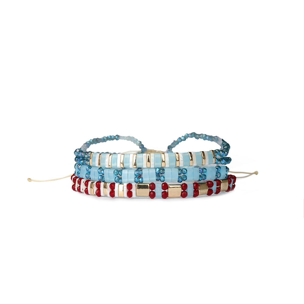 2019 3 and 4 Pcs New Handmade High Grade Stackable TILA Bead Multi Color Elastic Beach Bracelet