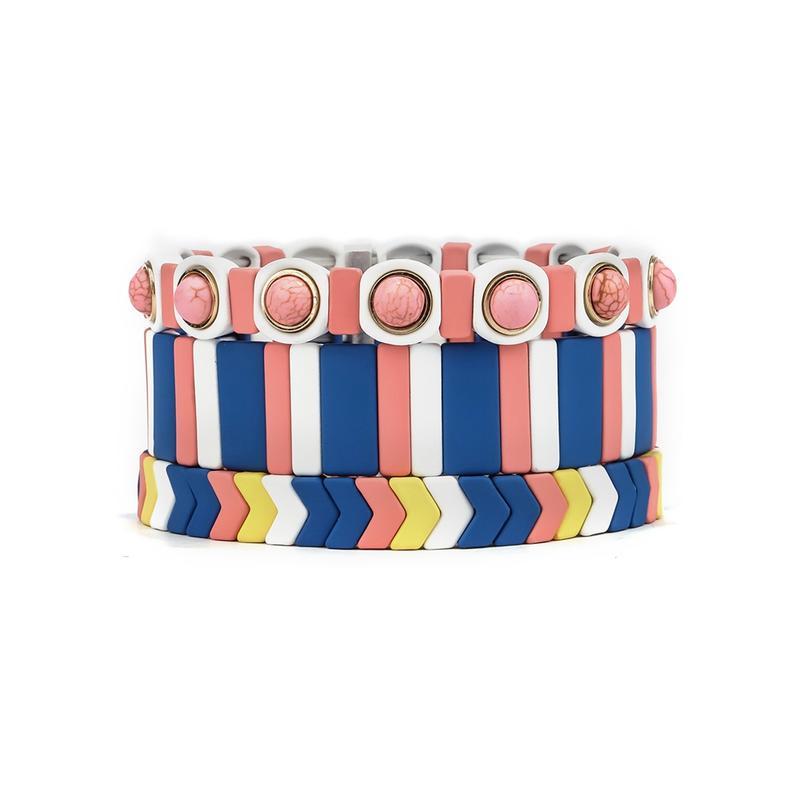 Fashion Trendy Wholesale Rose Blue Yellow Color Enamel Bracelet Women Jewelry