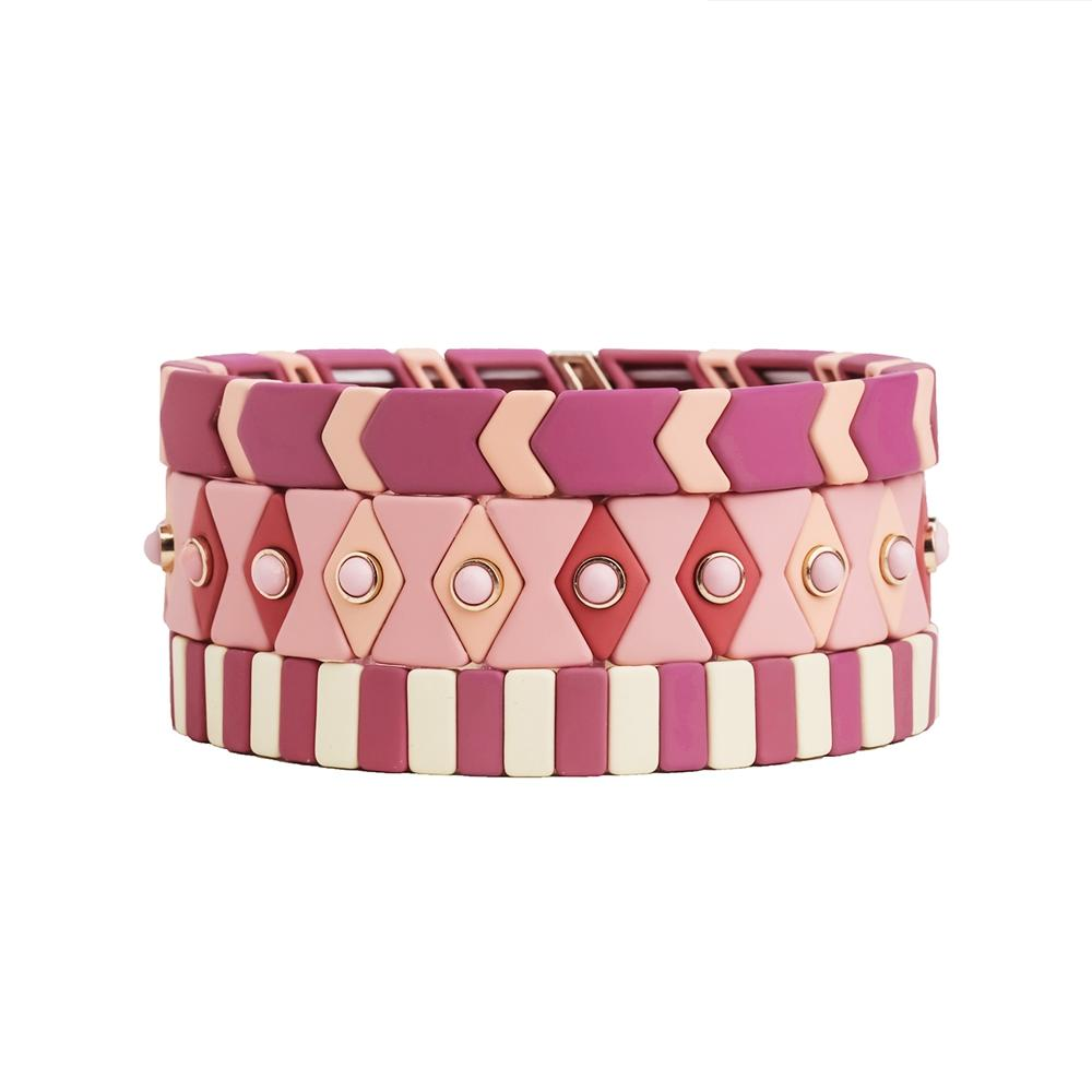 Hot selling Wholesale Rose Color 3PCs Enamel Bracelet Women Jewelry