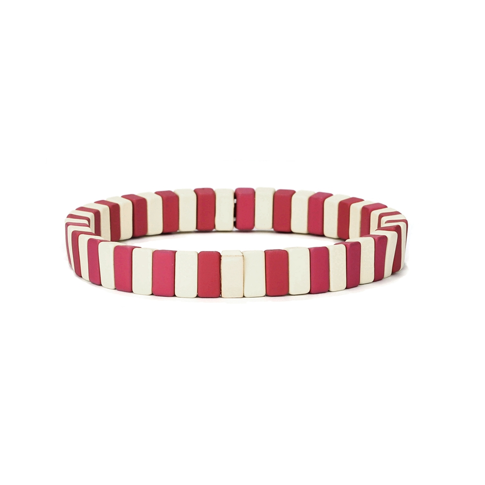 Simple fashion design red and beige color mixed tile enamel bracelet