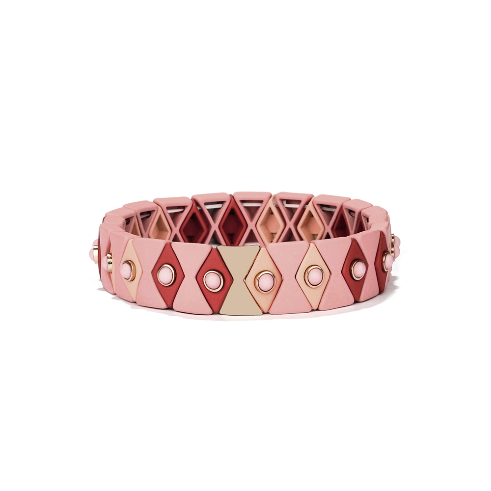 New simple fashion pink red and beige hematite bead tile enamel bracelet
