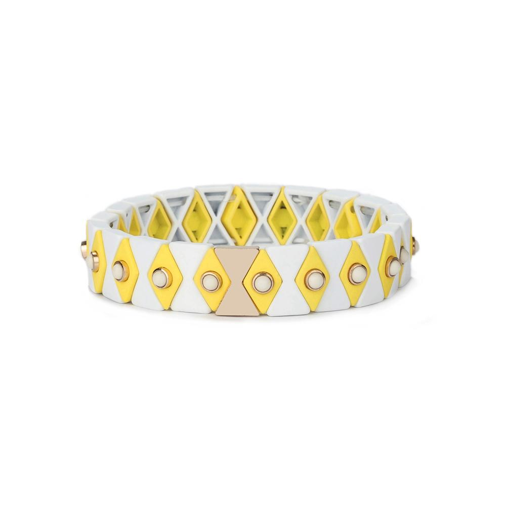 New Trendy Friendship Yellow Cream White Color 3Pcs Wholesale Enamel Bead Bracelet Women Jewelry