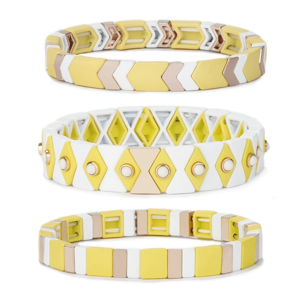 New Trendy Friendship Yellow Cream White Color 3Pcs Wholesale Enamel Bead Bracelet Women Jewelry
