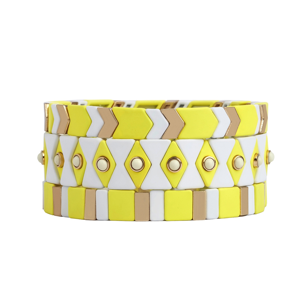New Trendy Friendship Yellow Cream White Color Wholesale Tile Bead Tile Bracelet Women Jewelry