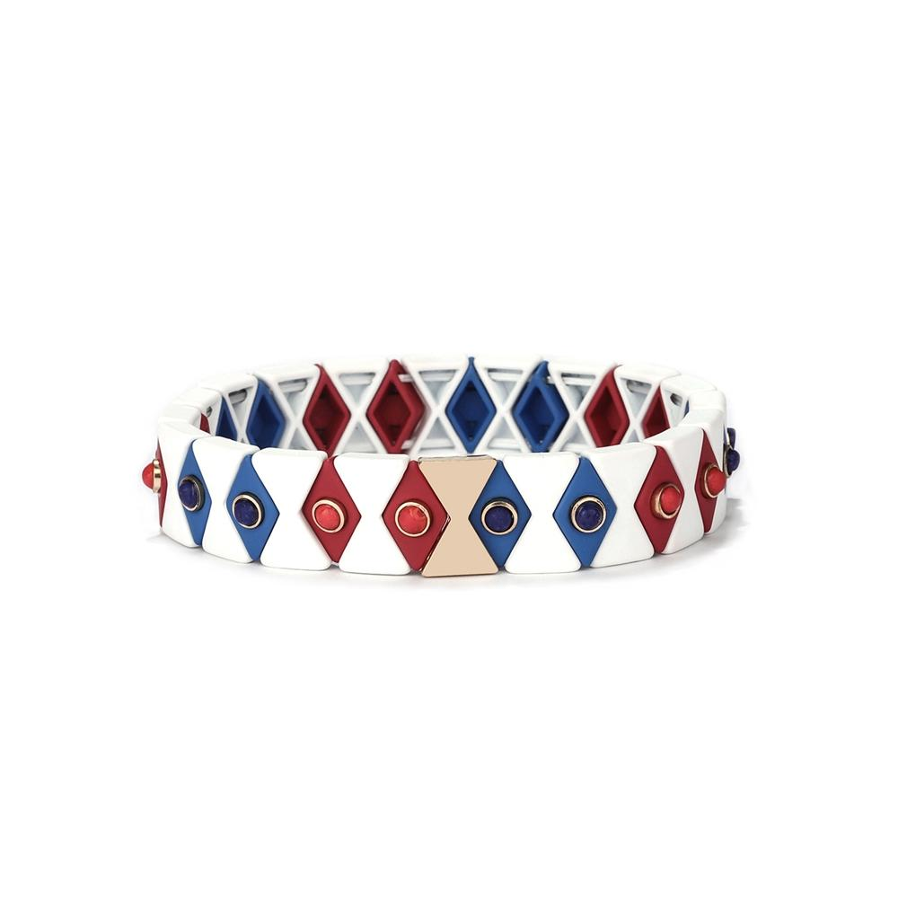 TTT Jewelry new design Red Blue White Color 3Pcs Wholesale Enamel Bracelet Women Jewelry