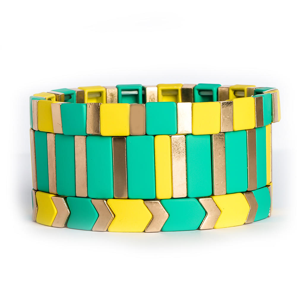 High Polished Rainbow Tile Bead Bracelet Enameled Stretch Tile Bracelet For women-Yellow & Green