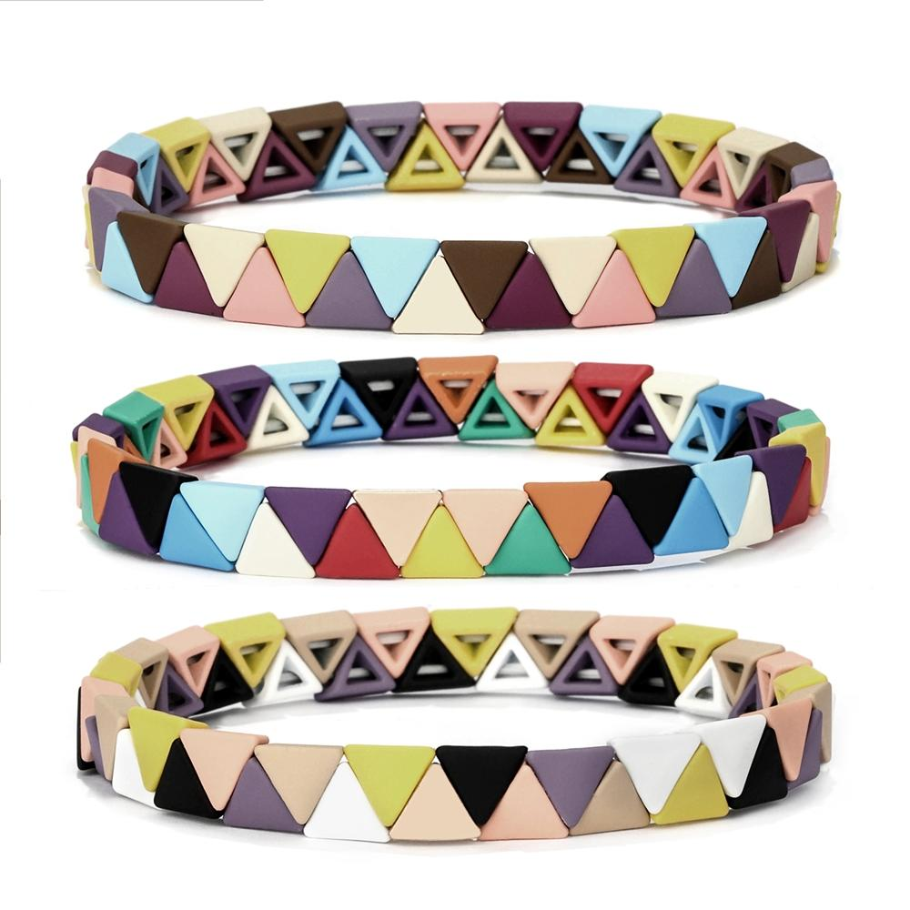 Picnic Blanket Rainbow Blocks Tubes Enamel Bead Stackable Bracelet