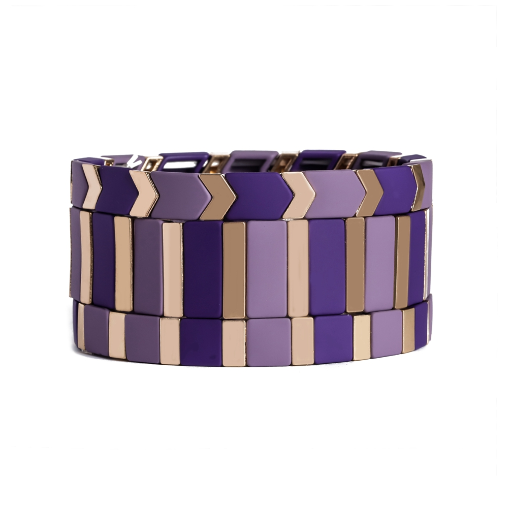 handmade square purple and gold color tile enamel bracelet
