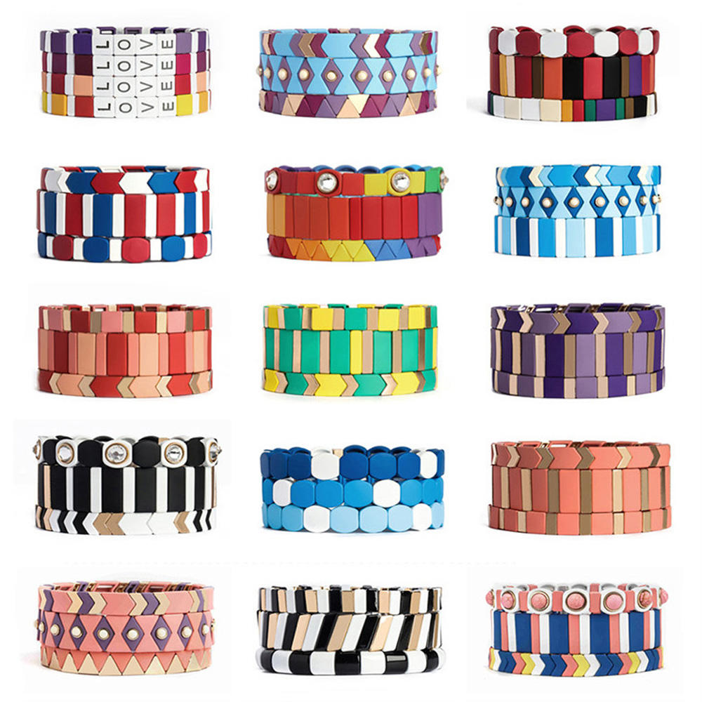 Friendship Graceful Purple Colour Wholesale Enamel Bracelet Fashion Handmade Jewelry