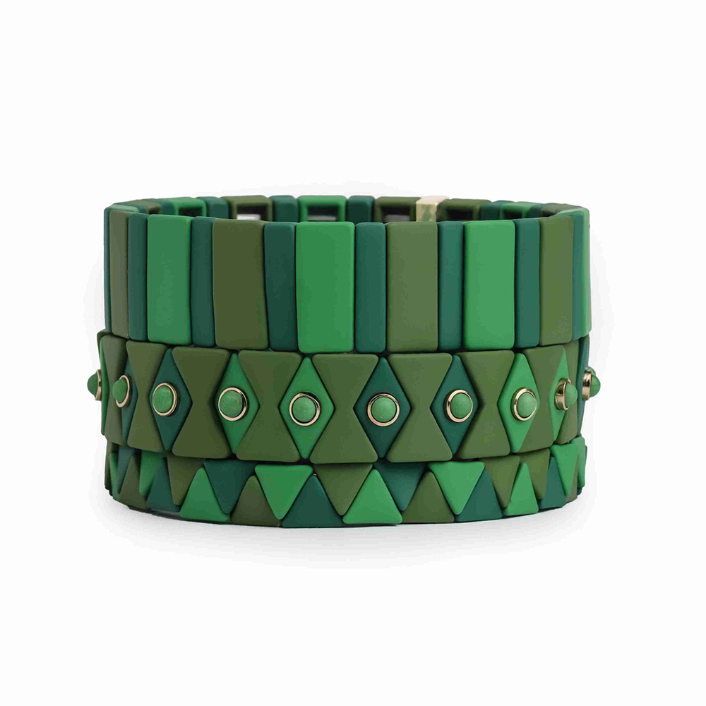 Fresh Green color strip triangle hematite handmade tile enamel bracelet women jewelry