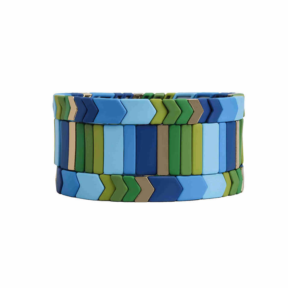 Popular Trendy New Design Dark and Light Blue Green Color Handmade Enamel Bracelet
