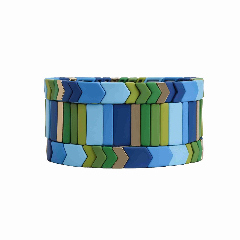 Fresh Friendship Blue and green series color strip  arrow shape handmade tile enamel bracelet women jewelry