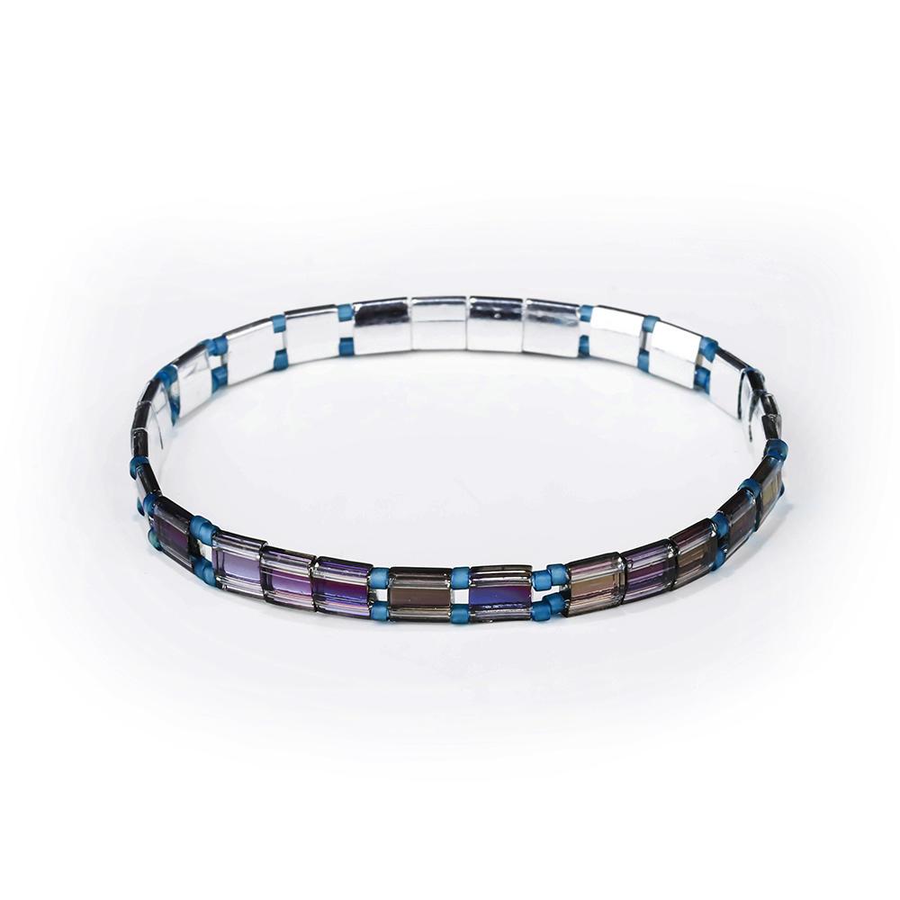 Pure Handmade Translucent Blue Color Miyuki Tila Bead Bracelet Wholesale Jewelry