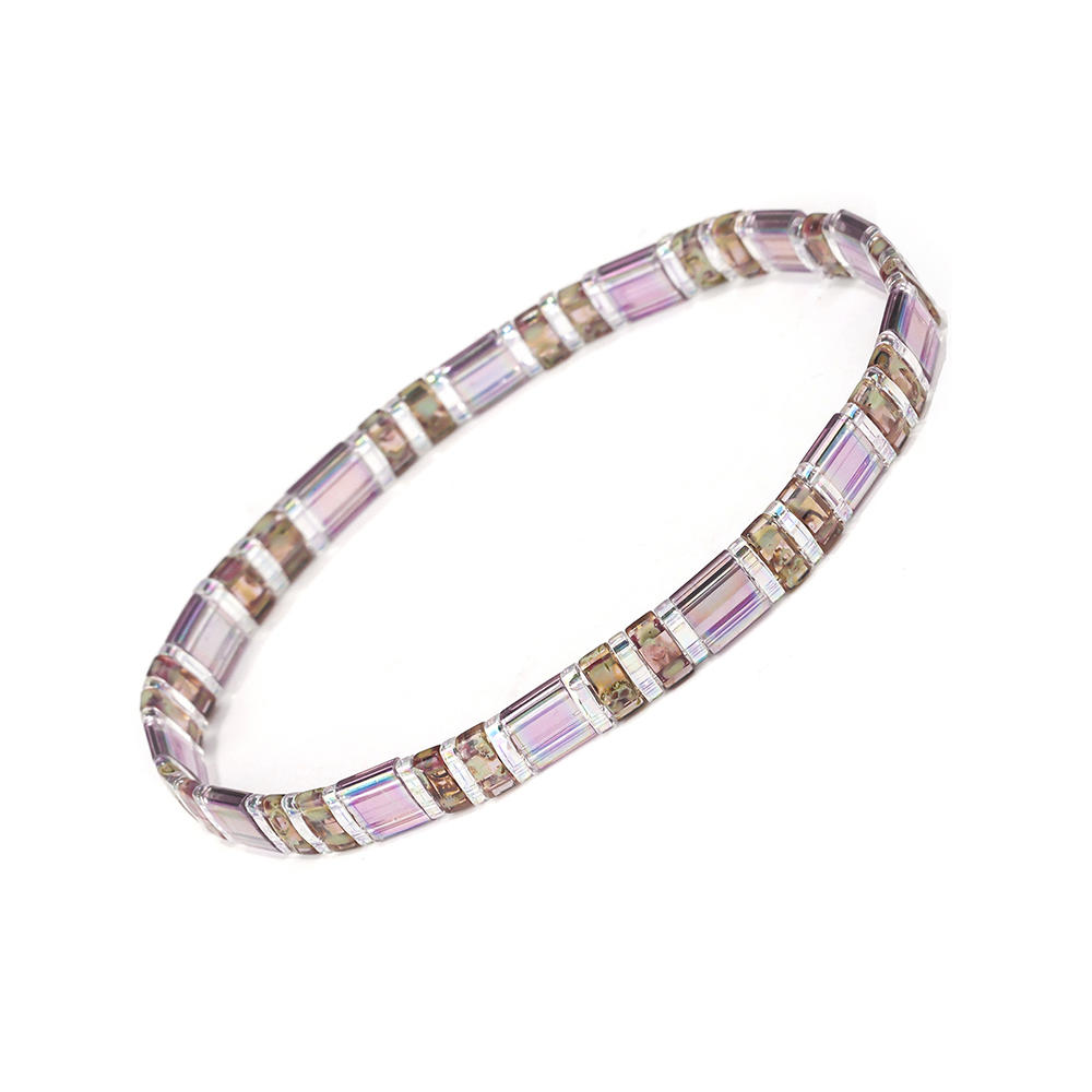 New Fashion Translucent Magic Pink Color Crystal Tila Bracelet Wholesale Jewelry
