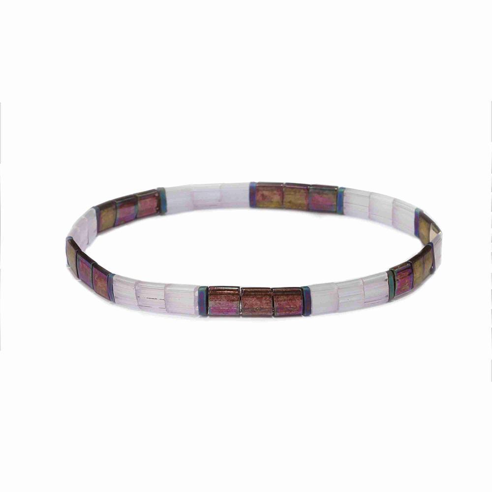 Popular Wholesale Translucent Dazzle Brown Color Tila Bead Bracelet Jewelry
