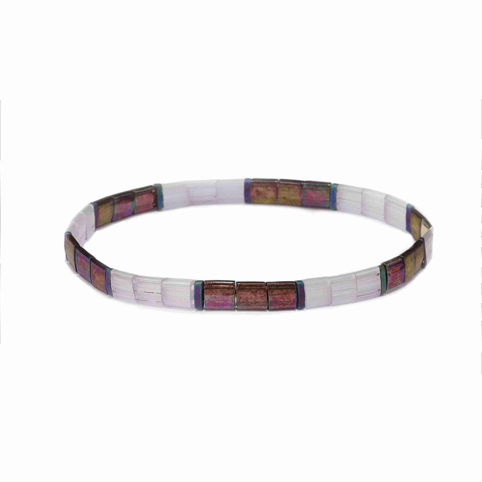 Popular Wholesale Translucent Dazzle Brown Color Tila Bead Bracelet Jewelry