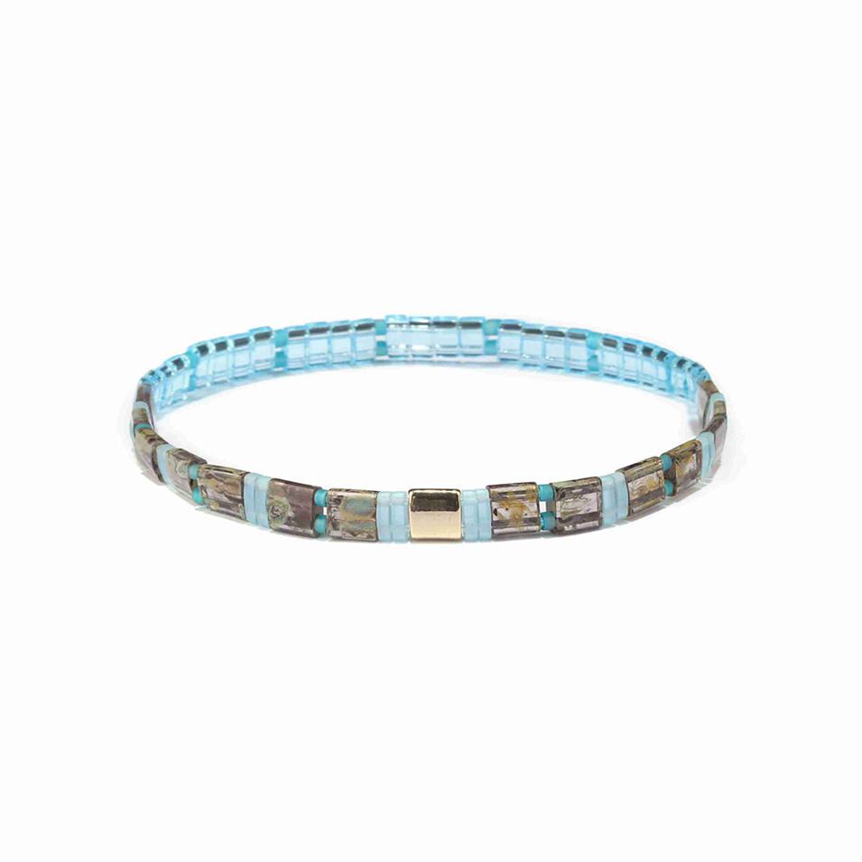 New Desgin Blue Crystal Color Mikuyi Tila Bead Bracelet Wholesale Handmade Jewelry