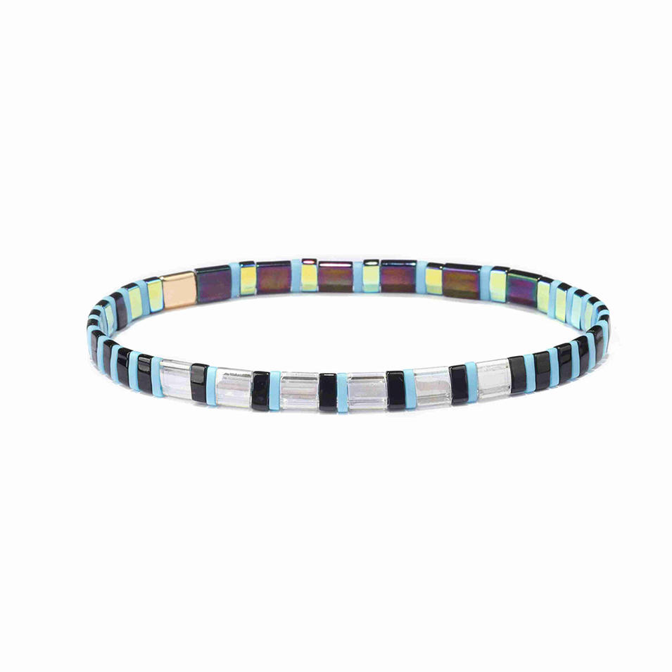 Handmade Top Quality Dazzla Translucent Blue and Yellow Color Tila Bracelet