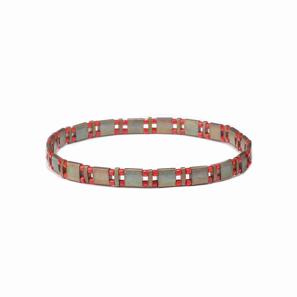 Stylish Ladies Cutomized Handmade Froted Miyuki Red Color Tila Bead Bracelet
