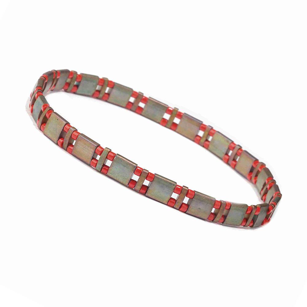 Stylish Ladies Cutomized Handmade Froted Miyuki Red Color Tila Bead Bracelet