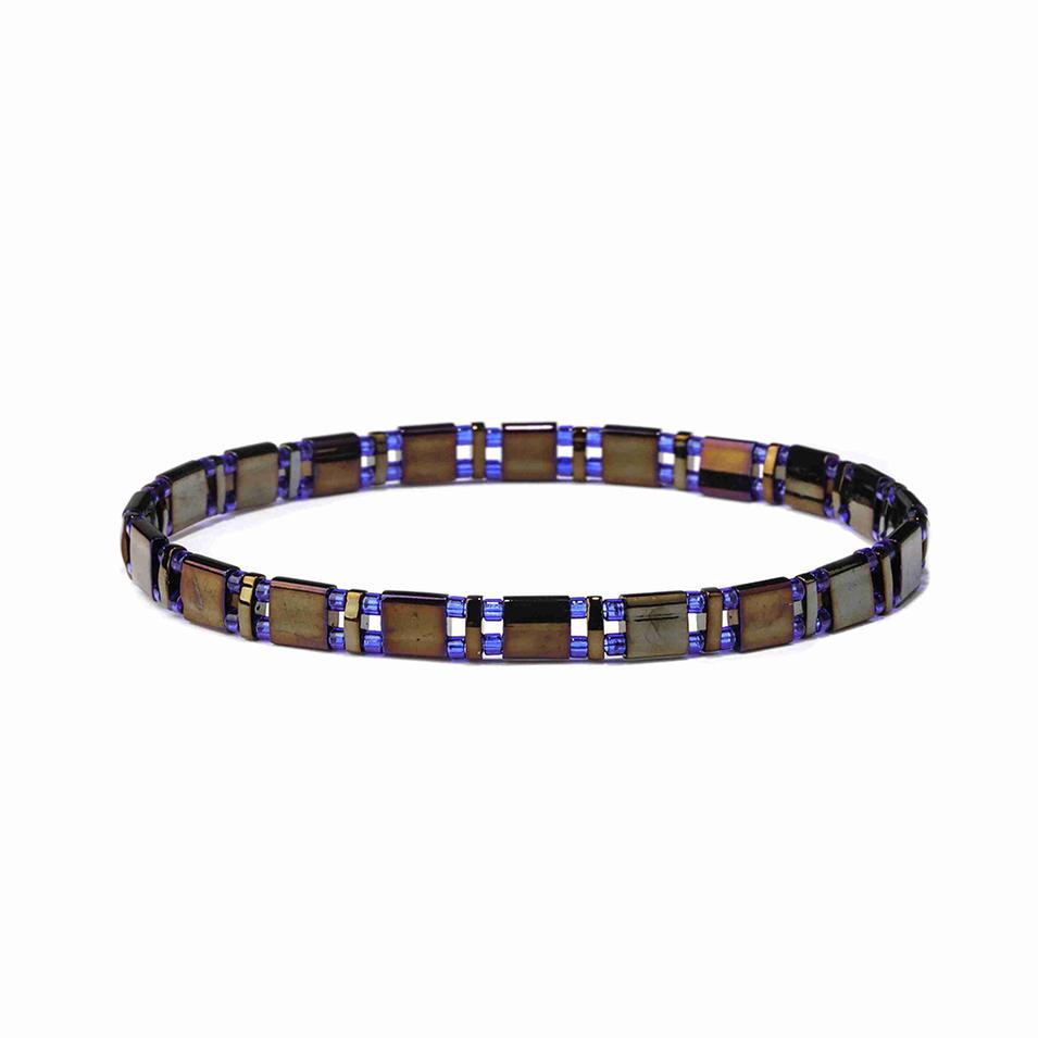Vogue Friendship Dazzle Blue and Black Color Handmade Miyuki Tila Bead Bracelet