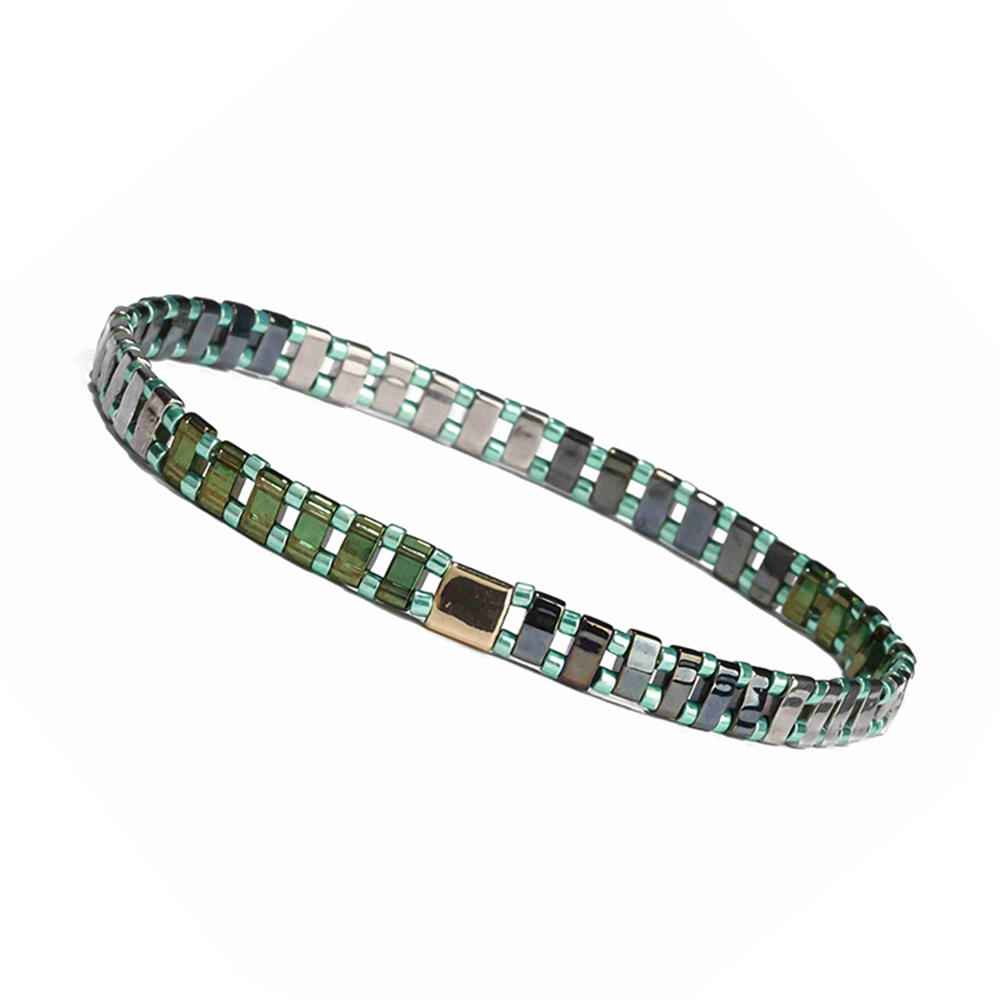 Beauty Fresh Wholesale Handmade Translucent Green Color Miyuki Tila Bead Bracelet Lady Jewelry