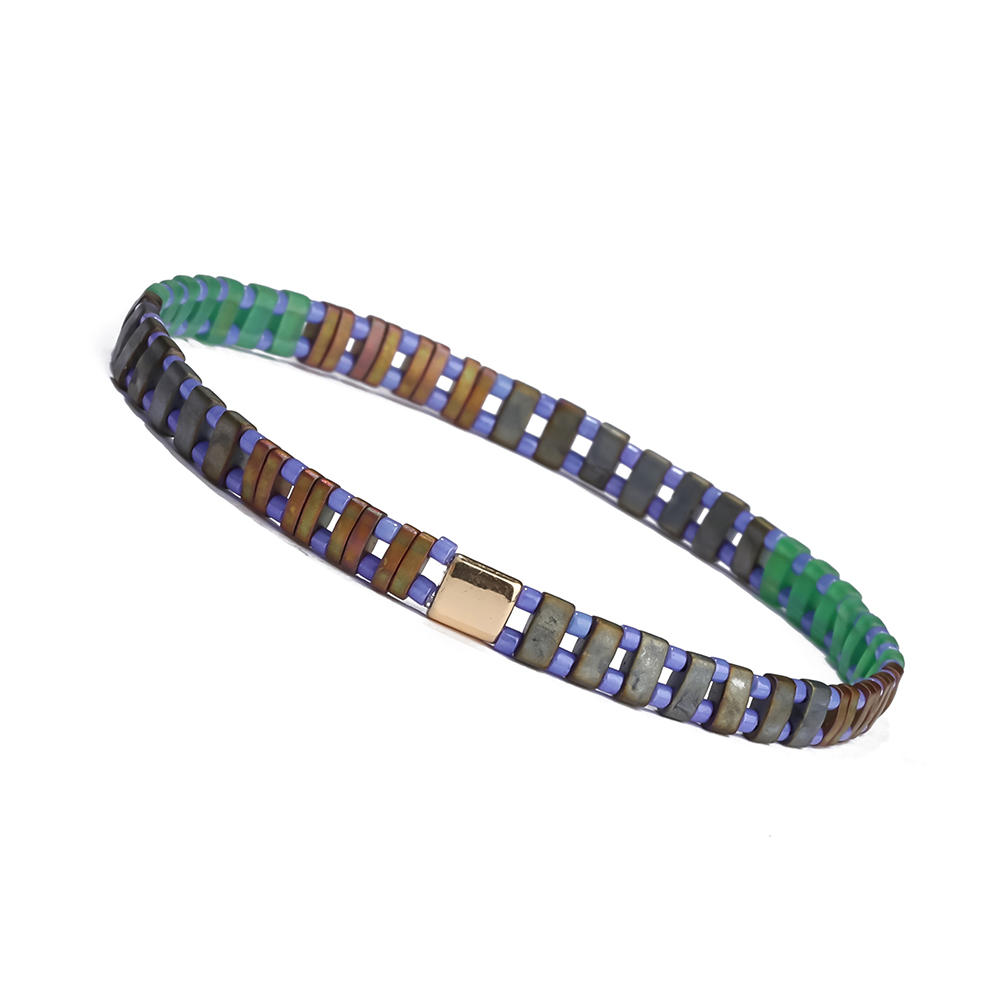 Top Quality Handmade Wholesale Ladies Jewelry Frosted Brown and Green Tila Bead Bracelet