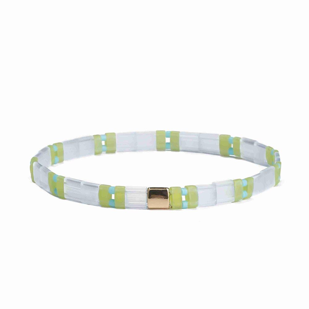 Friendship Fresh Ladies Jewelry Handmade Translucent Light Green Color Miyuki Tila Bead Bracelet